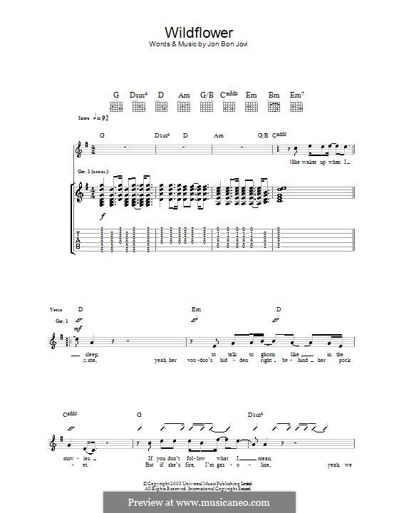 Wildflower (Bon Jovi): For guitar with tab by Jon Bon Jovi, Richie Sambora