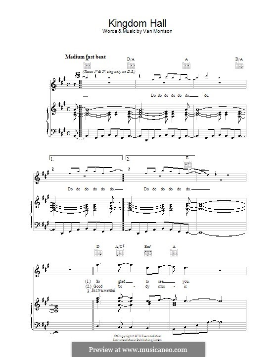 Kingdom Hall: For voice and piano (or guitar) by Van Morrison