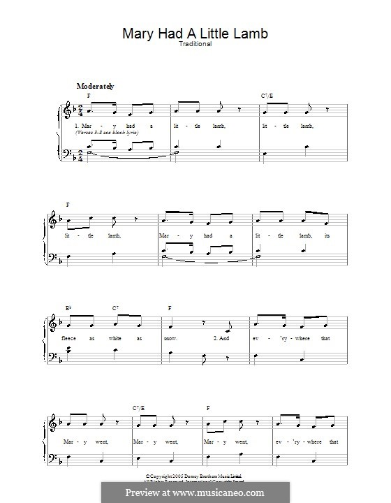 Mary Had a Little Lamb: For voice and piano by folklore