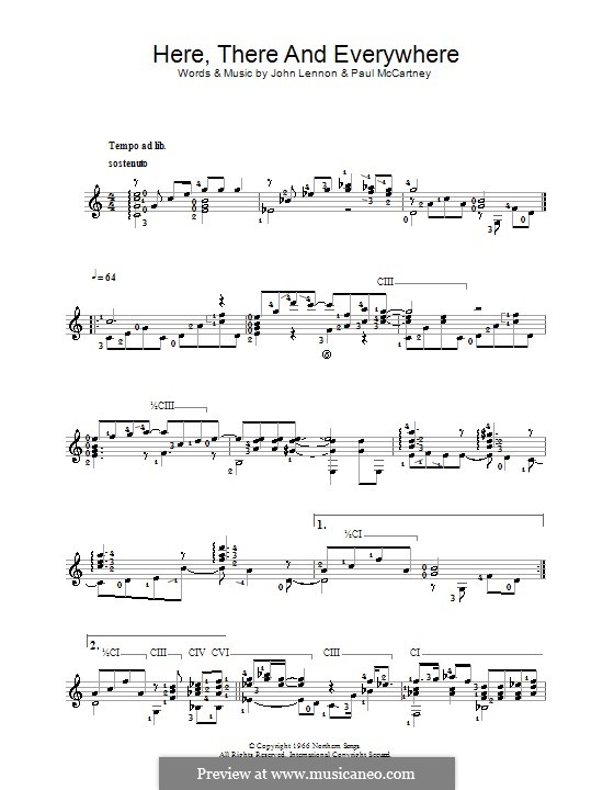 Here, There and Everywhere (The Beatles): For guitar (Classical) by John Lennon, Paul McCartney