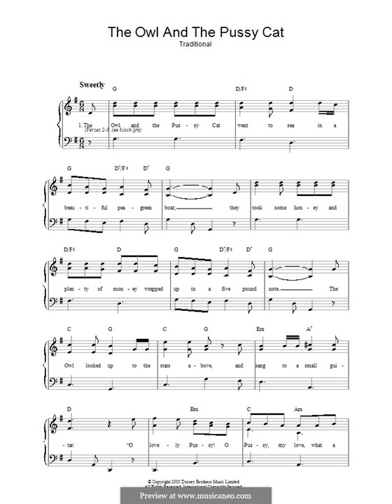 The Owl and The Pussycat: For voice and piano by folklore