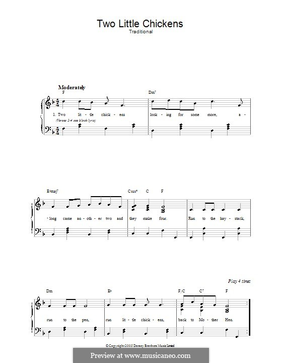 Two Little Chickens: For voice and piano by folklore