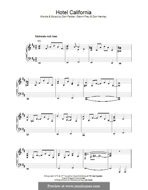 Hotel California (The Eagles): For voice and piano (or guitar) by Don Felder, Don Henley, Glen Frey