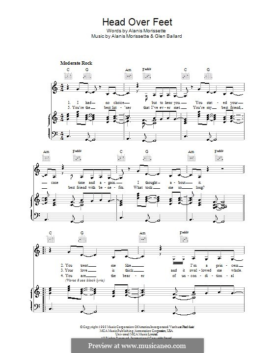 Head Over Feet: For voice and piano (or guitar) by Alanis Morissette, Glen Ballard