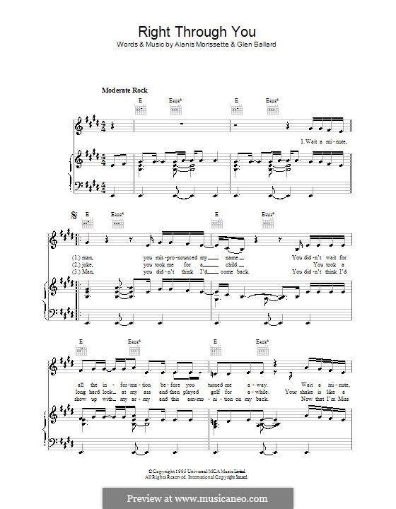 Right Through You: For voice and piano (or guitar) by Alanis Morissette, Glen Ballard