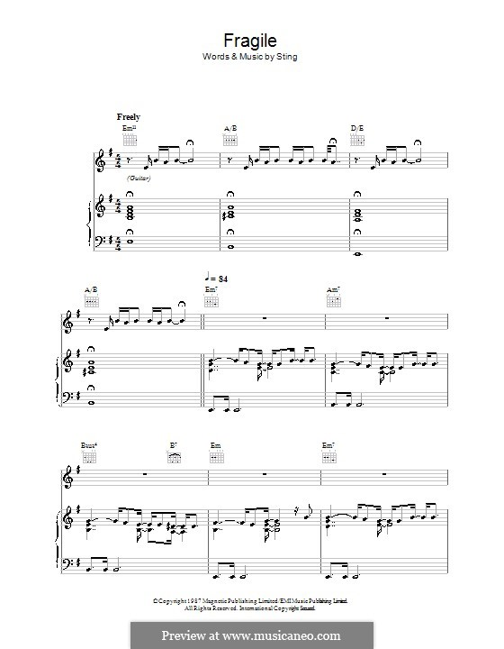 Fragile By Sting Sheet Music On Musicaneo