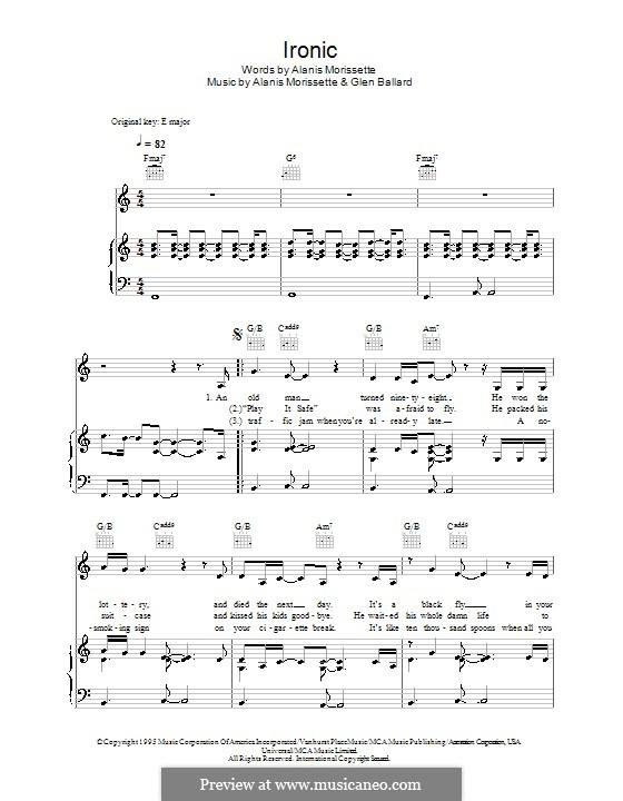 Ironic: For voice and piano (or guitar) by Alanis Morissette, Glen Ballard