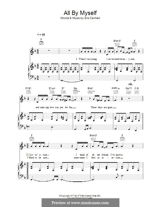 All By Myself by E. Carmen - sheet music on MusicaNeo