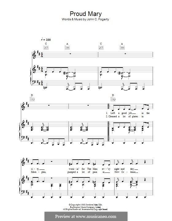 Proud Mary (Creedence Clearwater Revival): For voice and piano (or guitar) by John C. Fogerty