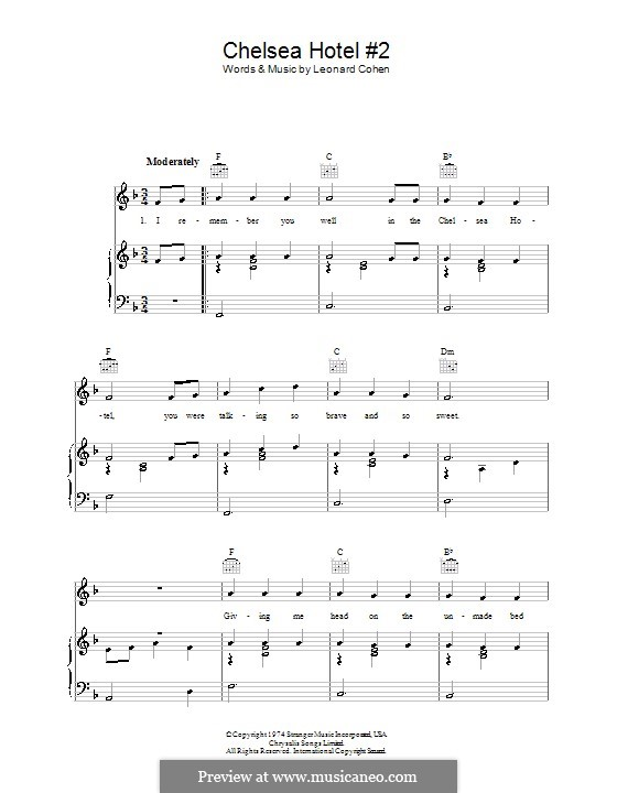 Chelsea Hotel No2 By L Cohen Sheet Music On Musicaneo