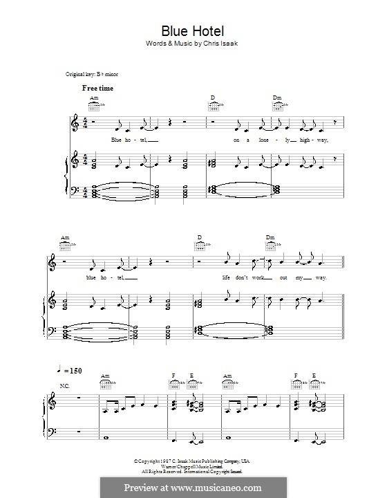 Blue Hotel By C Isaak Sheet Music On Musicaneo