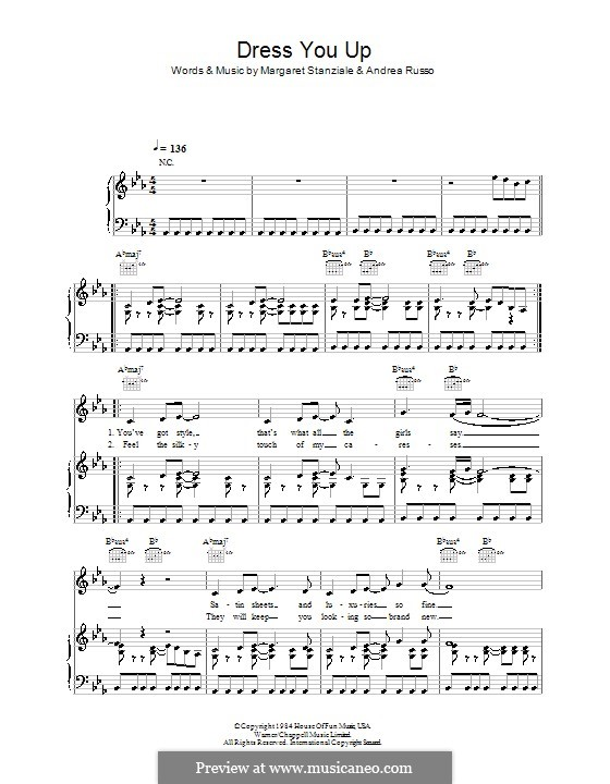 Dress You Up (Madonna): For voice and piano (or guitar) by Andrea Russo, Margaret Stanziale