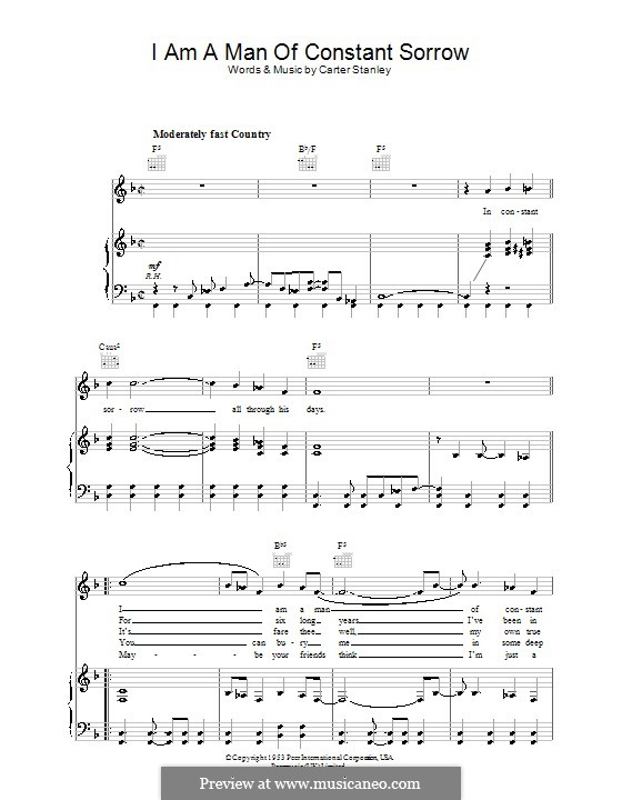 I am a Man of Constant Sorrow (The Soggy Bottom Boys): For voice and piano (or guitar) by Carter Stanley