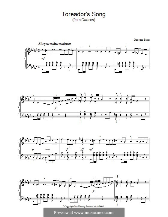 Toreador's Song: For piano (F Minor) by Georges Bizet