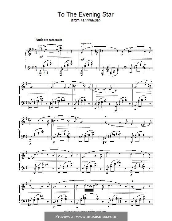 O Star of Eve: For piano (high quality sheet music) by Richard Wagner
