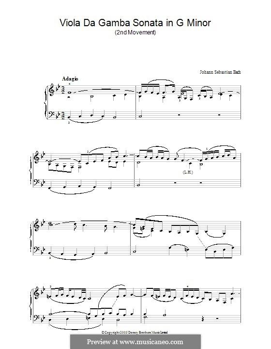 Sonata for Viola da Gamba and Harpsichord No.3 in G Minor, BWV 1029: Movement II. Version for piano by Johann Sebastian Bach