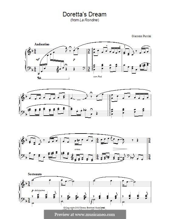 La Rondine: Doretta's Dream, for piano by Giacomo Puccini