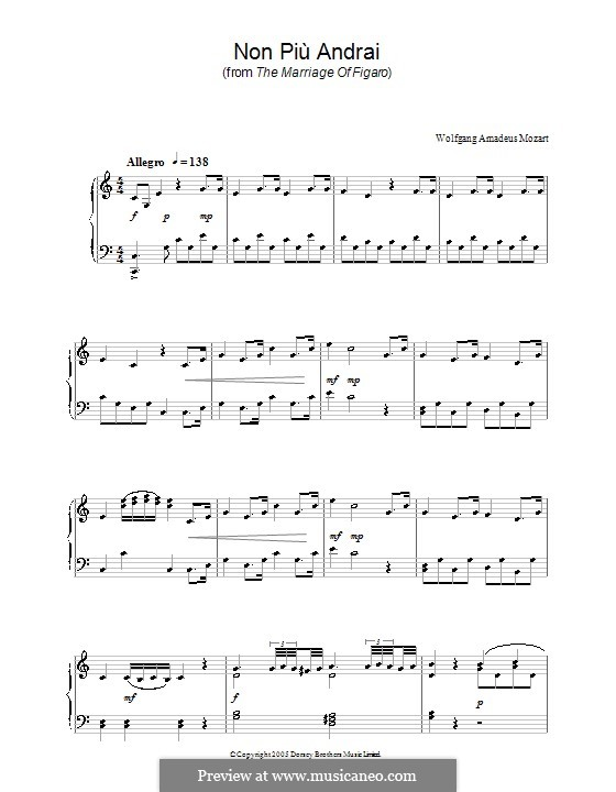 Non più andrai (Now no More): Version for piano by Wolfgang Amadeus Mozart