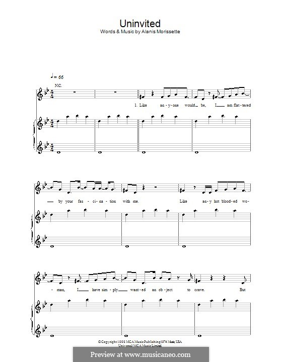 Uninvited: For voice and piano (or guitar) by Alanis Morissette
