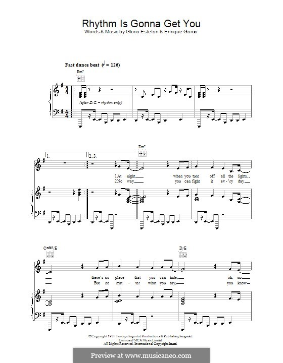 Rhythm Is Gonna Get You: For voice and piano (or guitar) by Enrique Garcia
