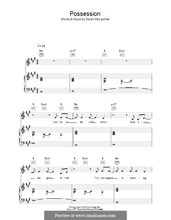 Possession: For voice and piano (or guitar) by Sarah McLachlan