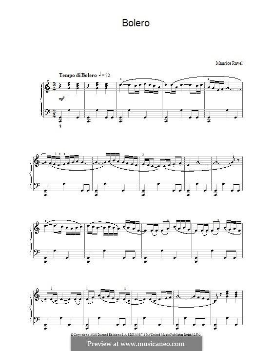 Bolero, M.81: For piano by Maurice Ravel