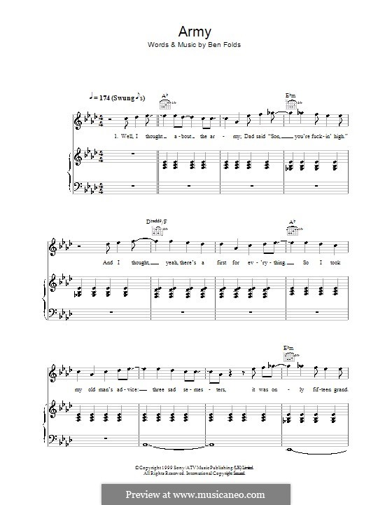 Army (Ben Folds Five): For voice and piano (or guitar) by Ben Folds