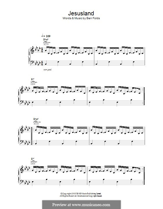 Jesusland: For voice and piano (or guitar) by Ben Folds