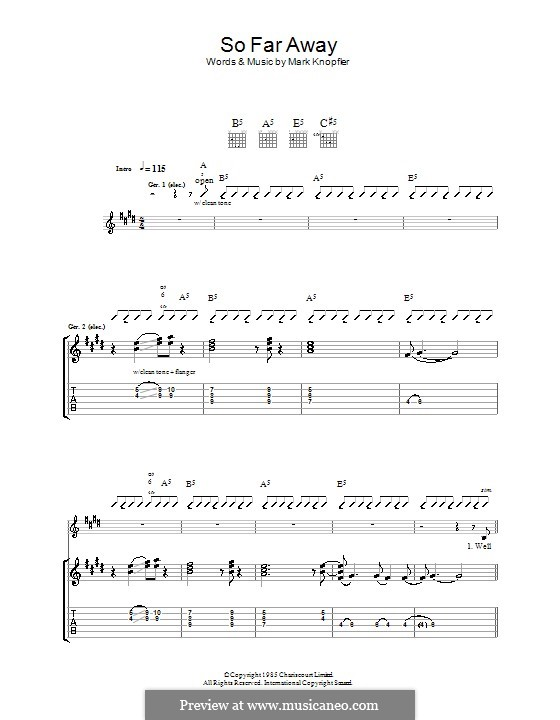 So Far Away (Dire Straits): For guitar with tab by Mark Knopfler