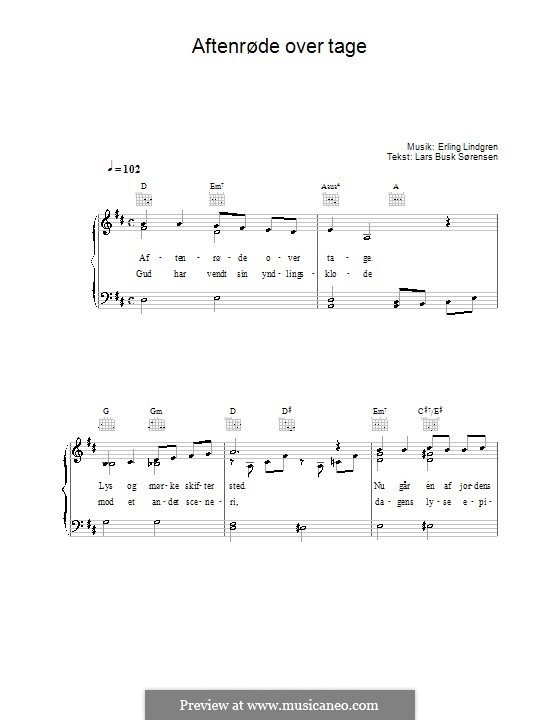 Aftenrøde Over Tage: For voice and piano (or guitar) by Erling Lindgren