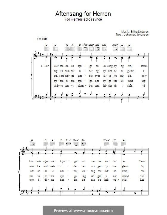 Aftensang for Herren - for Herren Lad os Singe: For voice and piano (or guitar) by Erling Lindgren
