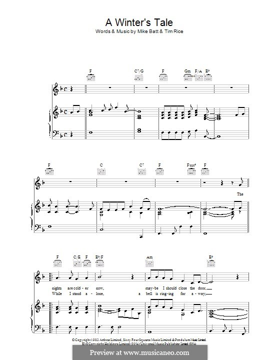 A Winter's Tale (David Essex): For voice and piano (or guitar) by Mike Batt