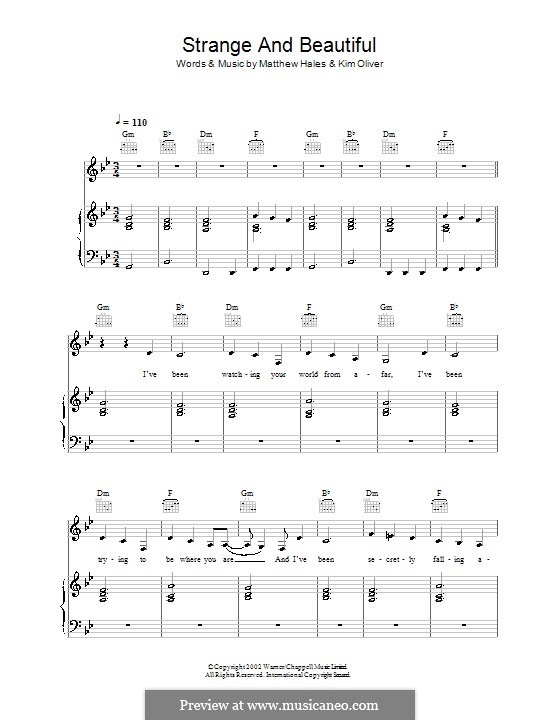 Strange and Beautiful (Aqualung): For voice and piano (or guitar) by Kim Oliver, Matthew Hales