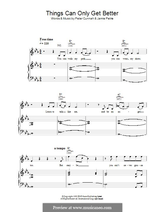 Things Can Only Get Better (D:Ream): For voice and piano (or guitar) by Jamie Petrie, Peter Cunnah