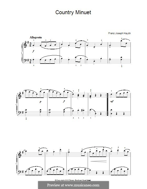 Country Minuet: For piano by Joseph Haydn