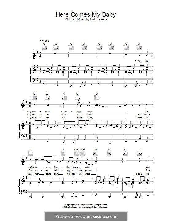 Here Comes My Baby: For voice and piano (or guitar) by Cat Stevens