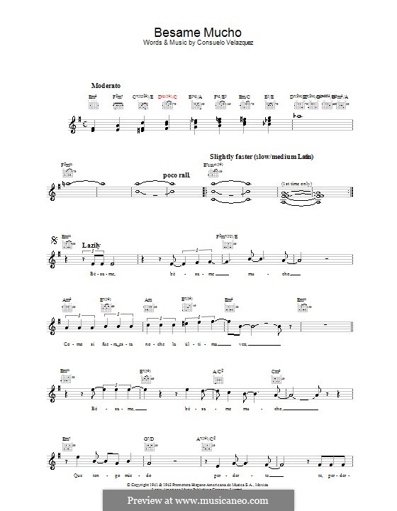 Besame Mucho (Kiss Me Much): Melody line, lyrics and chords by Consuelo Velazquez