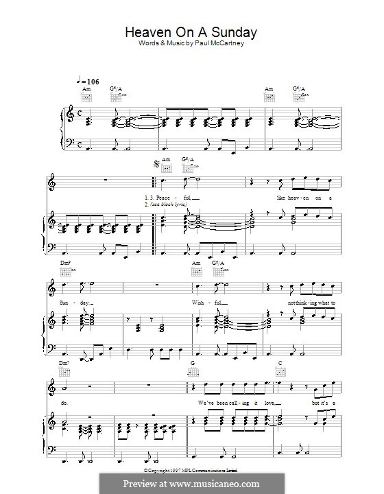 Heaven on a Sunday: For voice and piano (or guitar) by Paul McCartney