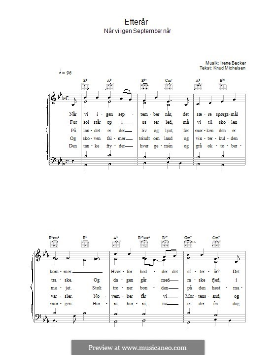 Efterår: For voice and piano (or guitar) by Irene Becker