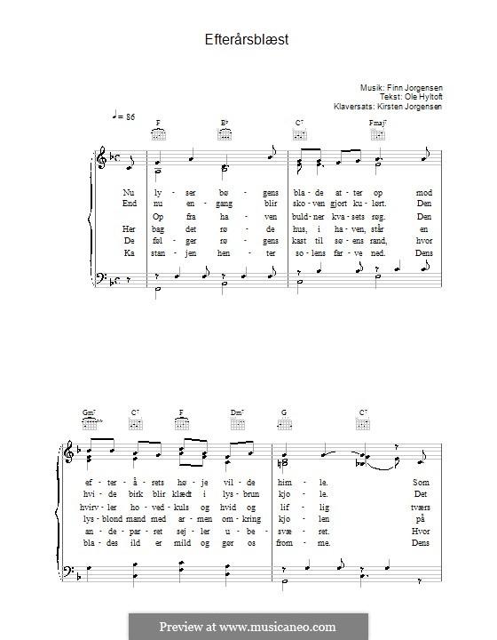 Efterårsblæst: For voice and piano (or guitar) by Finn Jørgensen