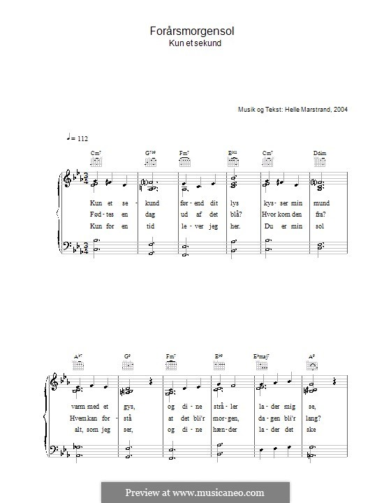 Forårsmorgensol: For voice and piano (or guitar) by Helle Marstrand
