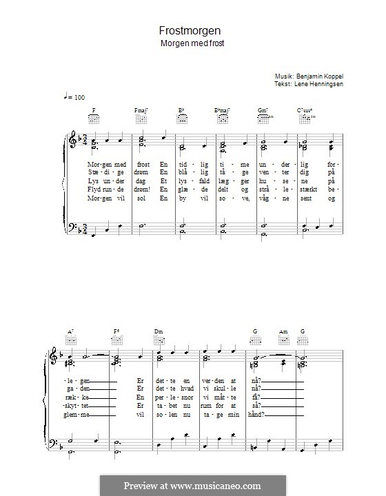 Frostmorgen: For voice and piano (or guitar) by Benjamin Koppel