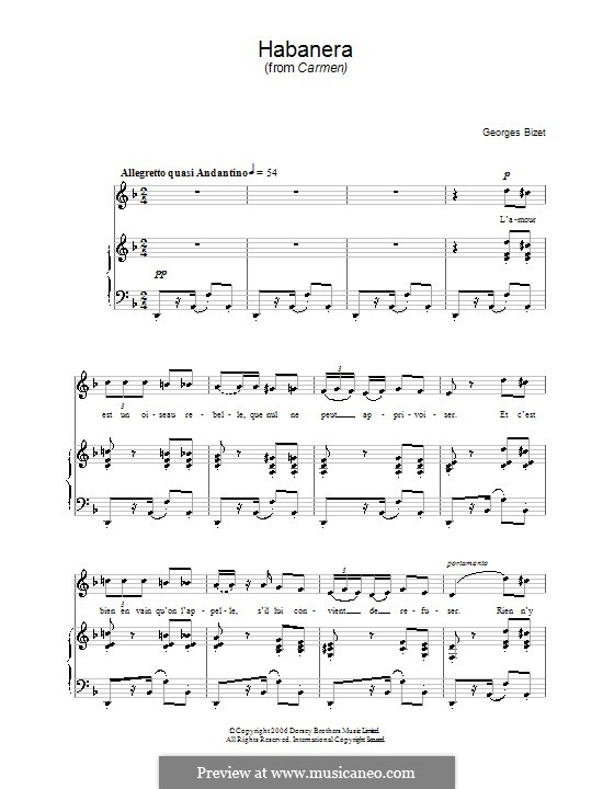 Habanera: For voice and piano (high quality sheet music) by Georges Bizet