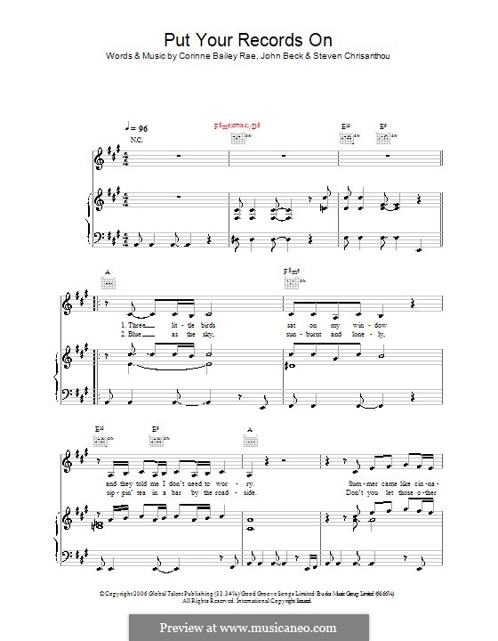Download put your records on sheet music by corinne bailey rae.