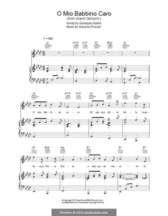 O mio babbino caro: For voice and piano (or guitar) by Giacomo Puccini