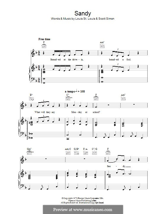 Sandy (from Grease): For voice and piano or guitar (John Travolta) by Louis St. Louis, Scott Simon