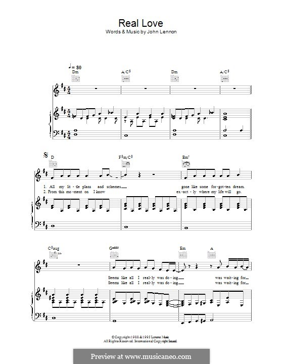 Real Love (The Beatles): For voice and piano (or guitar) by John Lennon