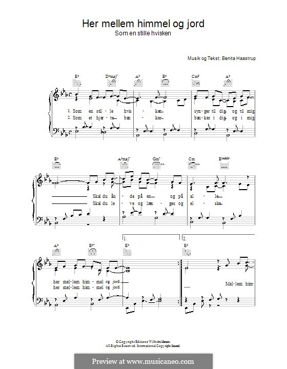 Her Mellem Himmel Og Jord: For voice and piano (or guitar) by Benita Haastrup