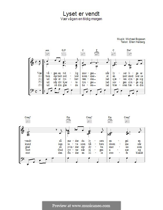 Lyset Er Vendt: For voice and piano (or guitar) by Michael Bojesen