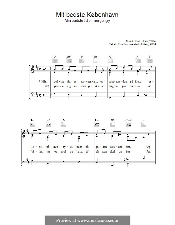 Mit Bedste København: For voice and piano (or guitar) by Bo Holten